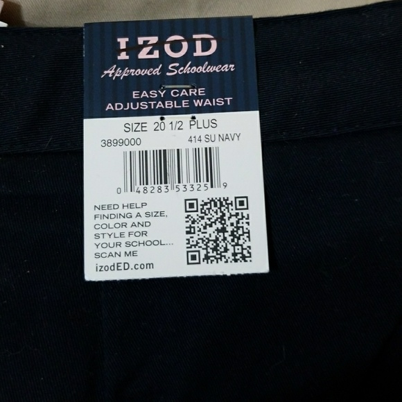 f7a3f0e57bc2b Izod Girls Plus blue chino uniform pants 20 1 2